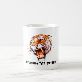 Cool cartoon tattoo symbol roaring tiger head coffee mug