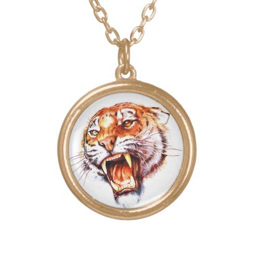 Cool cartoon tattoo symbol roaring tiger head custom jewelry