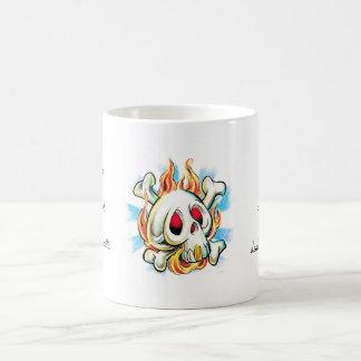 Cool cartoon tattoo symbol skull flame fire bones basic white mug