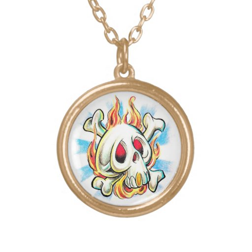 Cool cartoon tattoo symbol skull flame fire bones jewelry