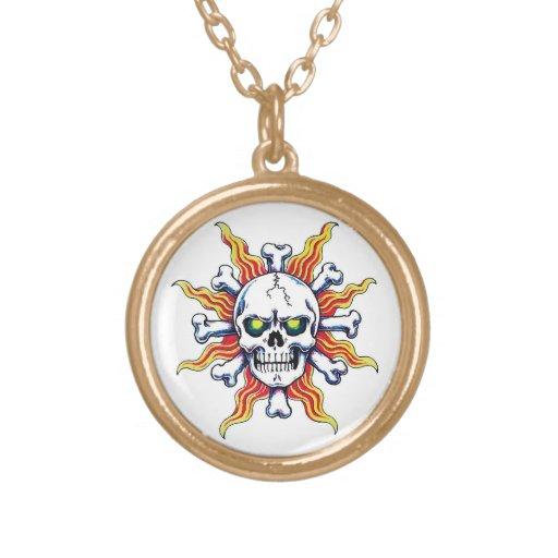 Cool cartoon tattoo symbol Skull sun bone Personalized Necklace