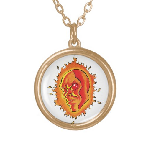 Cool cartoon tattoo symbol Sun face flame fire Personalized Necklace
