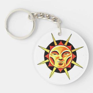 Cool cartoon tattoo symbol Sun Face Flame Acrylic Key Chain