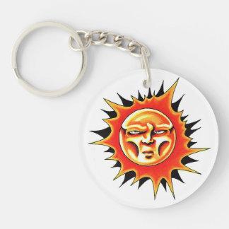 Cool cartoon tattoo symbol Sun Face Flame Round Acrylic Keychains