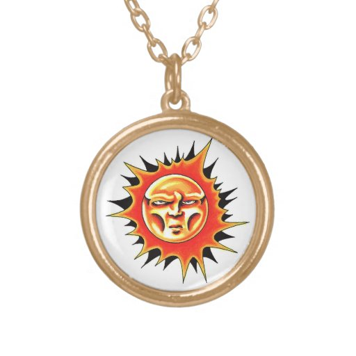 Cool cartoon tattoo symbol Sun Face Flame Personalized Necklace