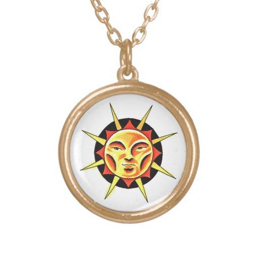 Cool cartoon tattoo symbol Sun Face Flame Necklaces