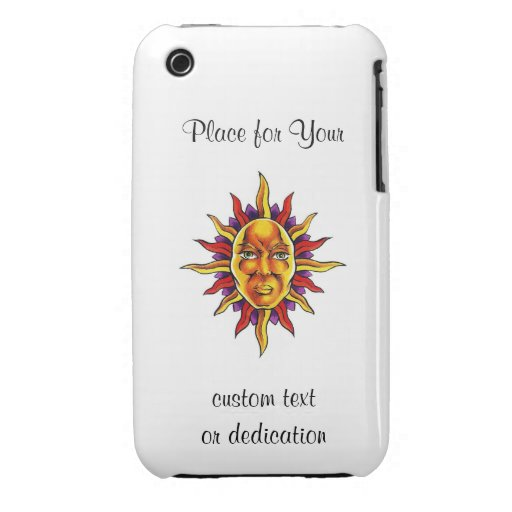 Cool cartoon tattoo symbol Sun face spikes iPhone 3 Cases