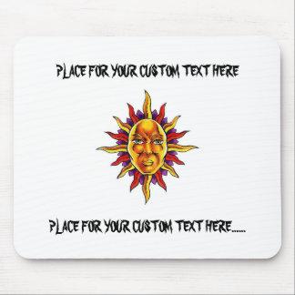 Cool cartoon tattoo symbol Sun face spikes Mouse Pad