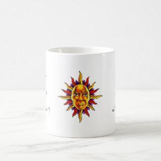 Cool cartoon tattoo symbol Sun face spikes Mugs