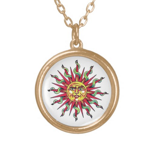Cool cartoon tattoo symbol Sun God Face head Personalized Necklace