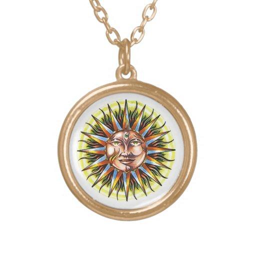 Cool cartoon tattoo symbol Sun God Face Pendant