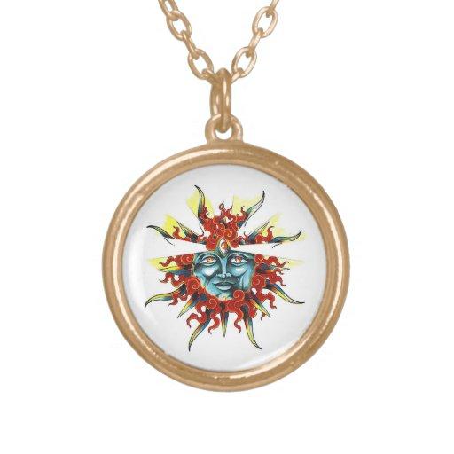 Cool cartoon tattoo symbol Sun god face Personalized Necklace