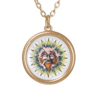 Cool cartoon tattoo symbol Sun Sage Face Personalized Necklace