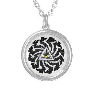 Cool cartoon tattoo symbol Third Eye Wisdom Round Pendant Necklace