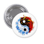 Cool cartoon tattoo symbol water fire Yin Yang 3 Cm Round Badge