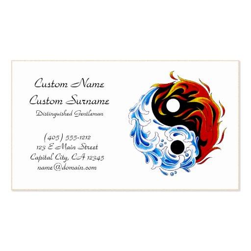 Cool cartoon tattoo symbol water fire Yin Yang Business Card Template