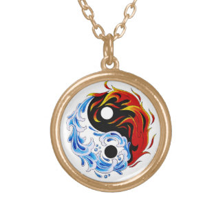Cool cartoon tattoo symbol water fire Yin Yang Gold Plated Necklace