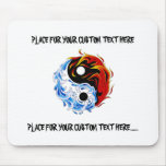 Cool cartoon tattoo symbol water fire Yin Yang Mouse Pad