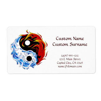 Cool cartoon tattoo symbol water fire Yin Yang Shipping Label