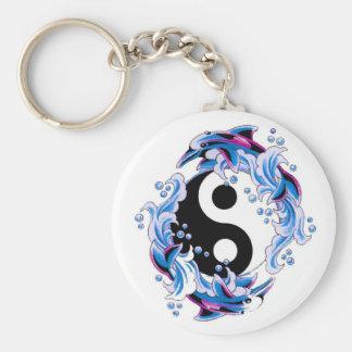 Cool cartoon tattoo symbol Yin Yang Dolphins Basic Round Button Key Ring