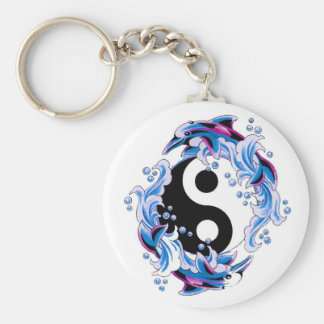 Cool cartoon tattoo symbol Yin Yang Dolphins Key Ring