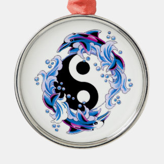 Cool cartoon tattoo symbol Yin Yang Dolphins Silver-Colored Round Decoration
