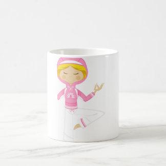 Cool Cartoon Yoga Girl Basic White Mug