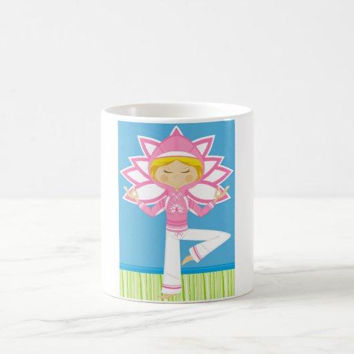 Cool Cartoon Yoga Girl Coffee Mugs