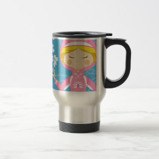 Cool Cartoon Yoga Girl Stainless Steel Travel Mug
