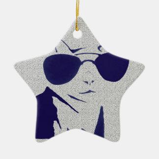 Cool Cat in Blue Ceramic Star Decoration