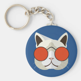 Cool Cat in Sunglasses Basic Round Button Key Ring