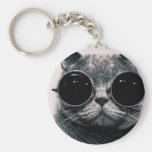 cool cat kool kat with shades basic round button key ring