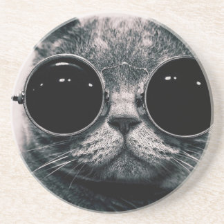 cool cat kool kat with shades coaster