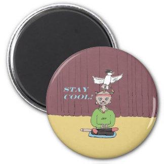 Cool Cat! 6 Cm Round Magnet