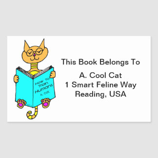 Cool Cat Reading Book Label Rectangle Stickers