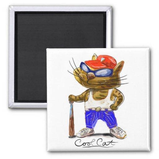 Cool Cat Square Magnet