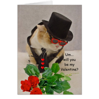 Cool Cat Valentine Greeting Card