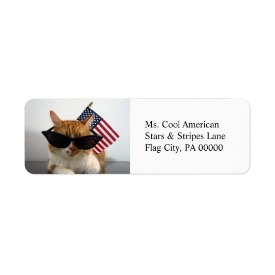 Cool Cat with American Flag Return Address Labels