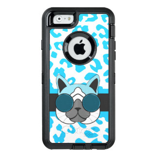Cool Cat with Animal Print in Hipster Theme OtterBox Defender iPhone Case