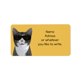 Cool Cat With Black Sunglasses Address Label