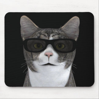 Cool Cat With Black Sunglasses Mouse Pad