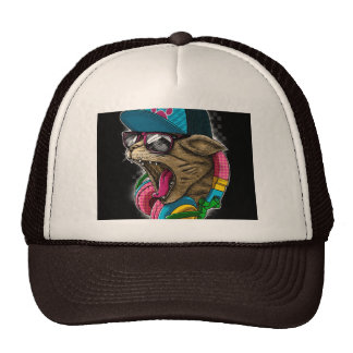 cool cat with headphones hat