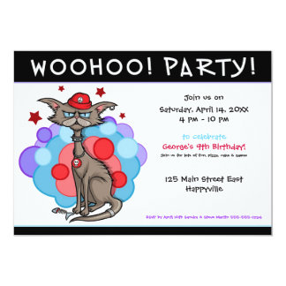 "Cool Cat with Red Hat 5"" X 7"" Invitation Card"