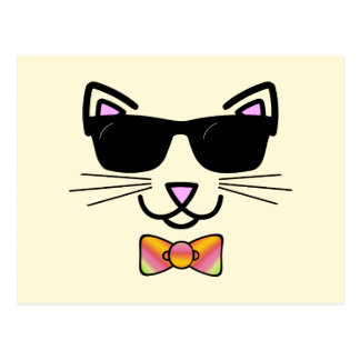 Cool Cat with Sunglasses And a BowTie Postcard