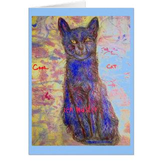 cool cat zen master greeting card