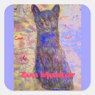 cool cat zen master square sticker