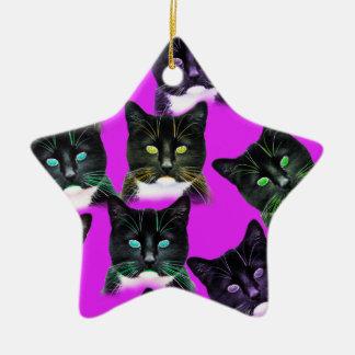 Cool Cats Ceramic Star Decoration