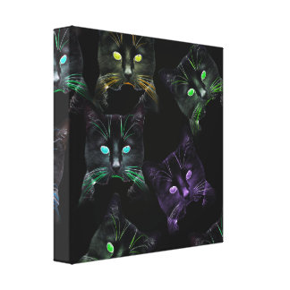 Cool Cats on Black! Multi-Colored Funky Cats. Canvas Print