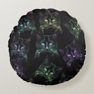 Cool Cats on Black! Multi-Colored Funky Cats. Round Cushion