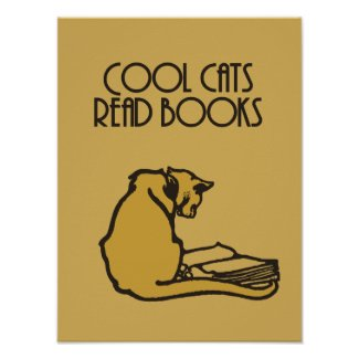 Cool cats read books retro style poster